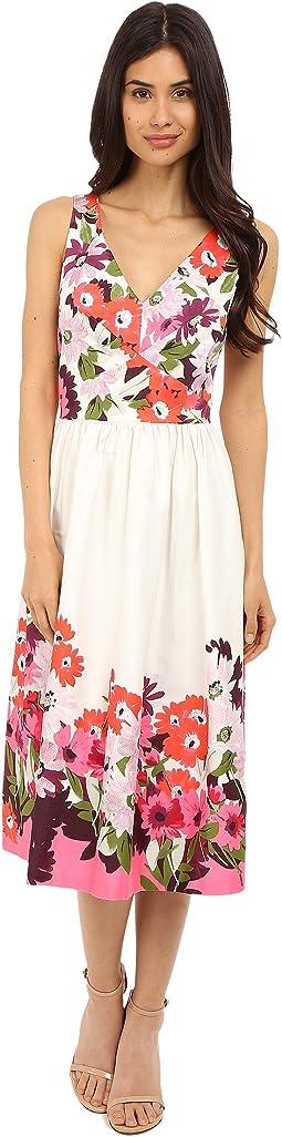 Sleeveless Cotton Sateen V-Neck Midi Length Dress