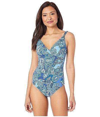 LAUREN Ralph Lauren Bandana Paisley Surplice Over the Shoulder Underwire One-Piece Swimsuit (Blue) Women