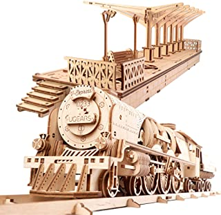 Ugears Bundle - V-Express Train & Platform- STEAM 3D Mechanical Wooden Models for Self Assembly, Wooden Box Craft, Vintage Locomotive DIY, Automata Kit Gift, Kinetic Art