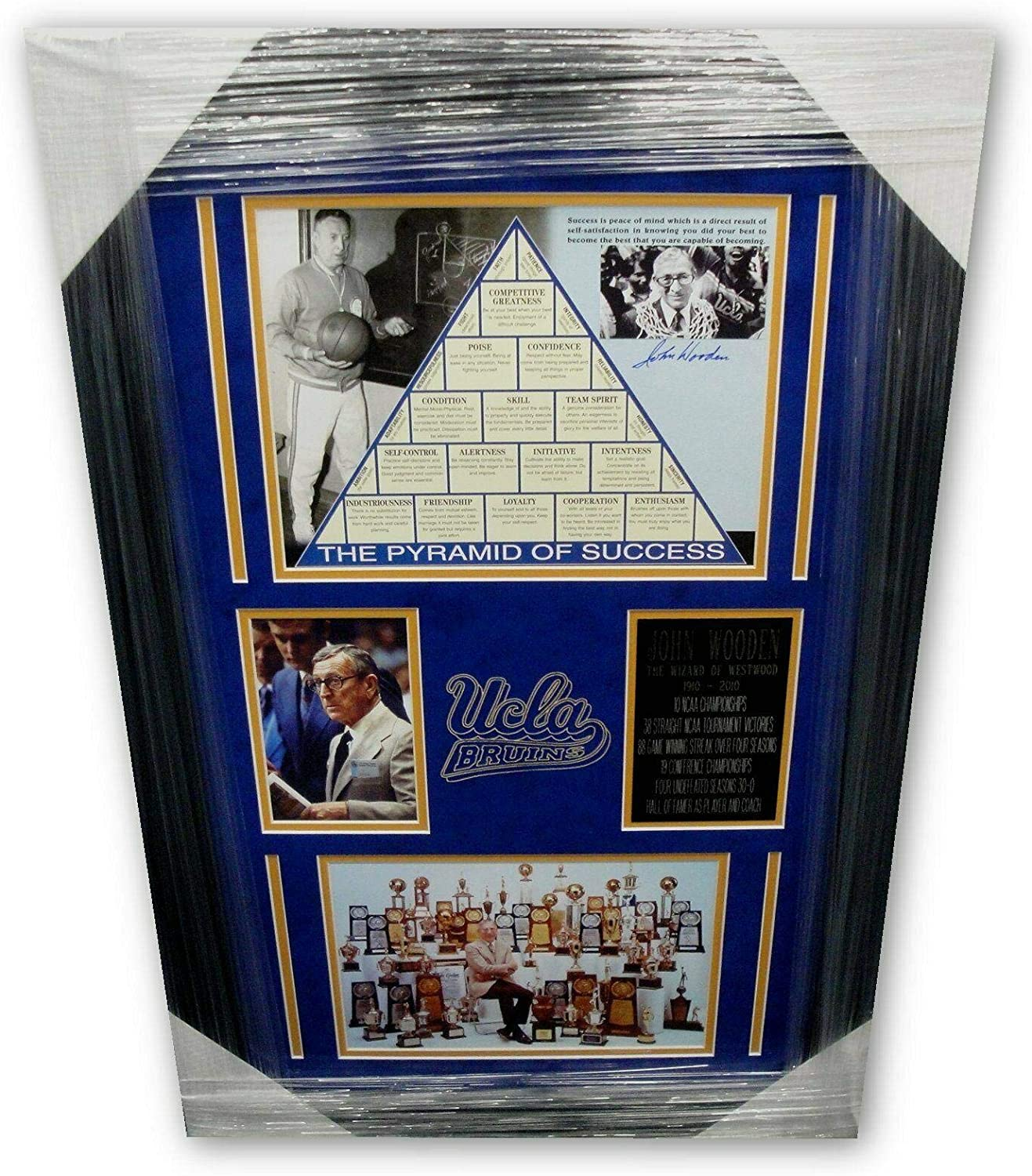 Autographed Wooden Picture  8X10 Pyramid Success Framed c3  Autographed College Photos