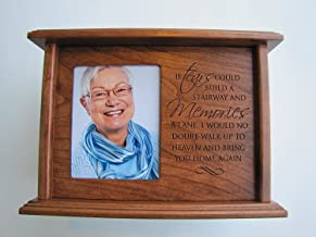 LifeSong Milestones Cremation Urn for Human Ashes Made of Solid Cherry Wood If Tears Could Build a Stairway and Memories a Lane Holds 4x5 Photo