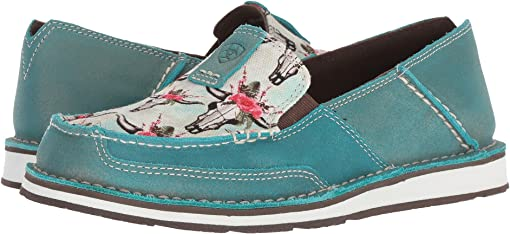 Shimmer Turquoise/Steers & Roses Print