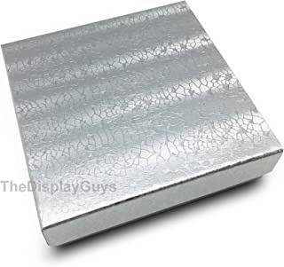Cotton Filled Silver Foil Jewelry Boxes 3 1/2