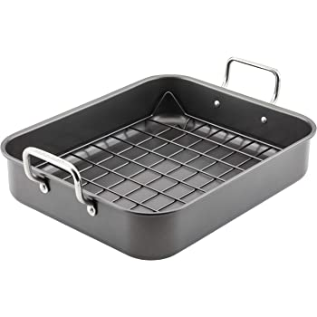 Rachael Ray Bakeware Nonstick Roaster/Roasting Pan with Reversible Rack, 16.5 Inch x 13.5 Inch, Gray