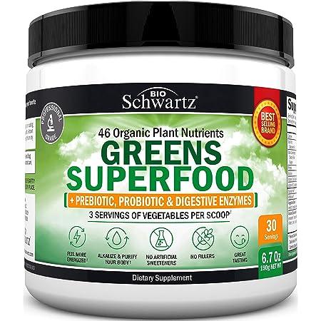 Chlorophyll Rich Super Greens Powder - 43+ Organic Green Superfoods - Alfalfa, Bilberry, Spirulina, Chlorella & More - Dr. Approved Keto Friendly Vegan Supplement - 3 Servings of Veggies per Scoop
