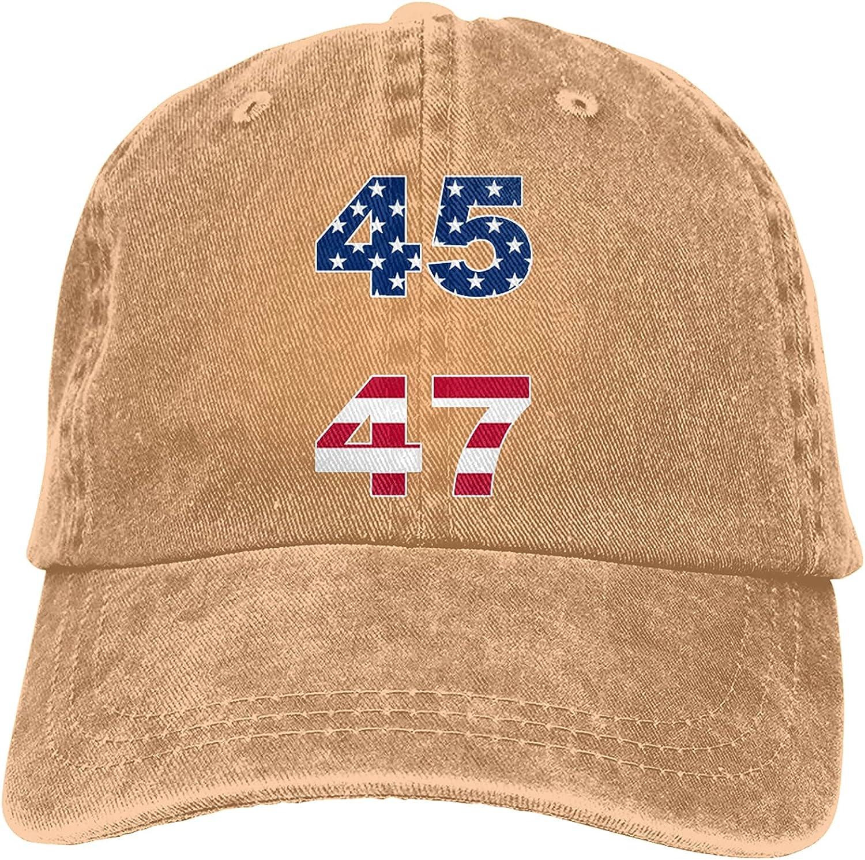 45 47 Trump 2024 Unisex Baseball Cap Adjustable Dad Hat Washable Cowboy Hat Black