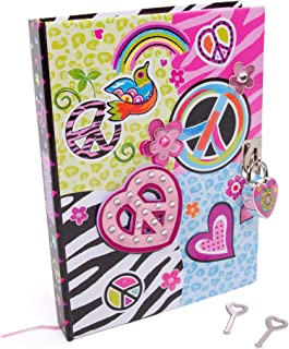"""Hot Focus Peace Secret Diary with Lock – 7"""" Journal Notebook with 300 Double Sided Lined Pages, Padlock and Two Keys for Kids"""