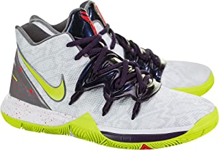 Kids' Grade School Kyrie 5 Basketball Shoes (5, White/Cyber)