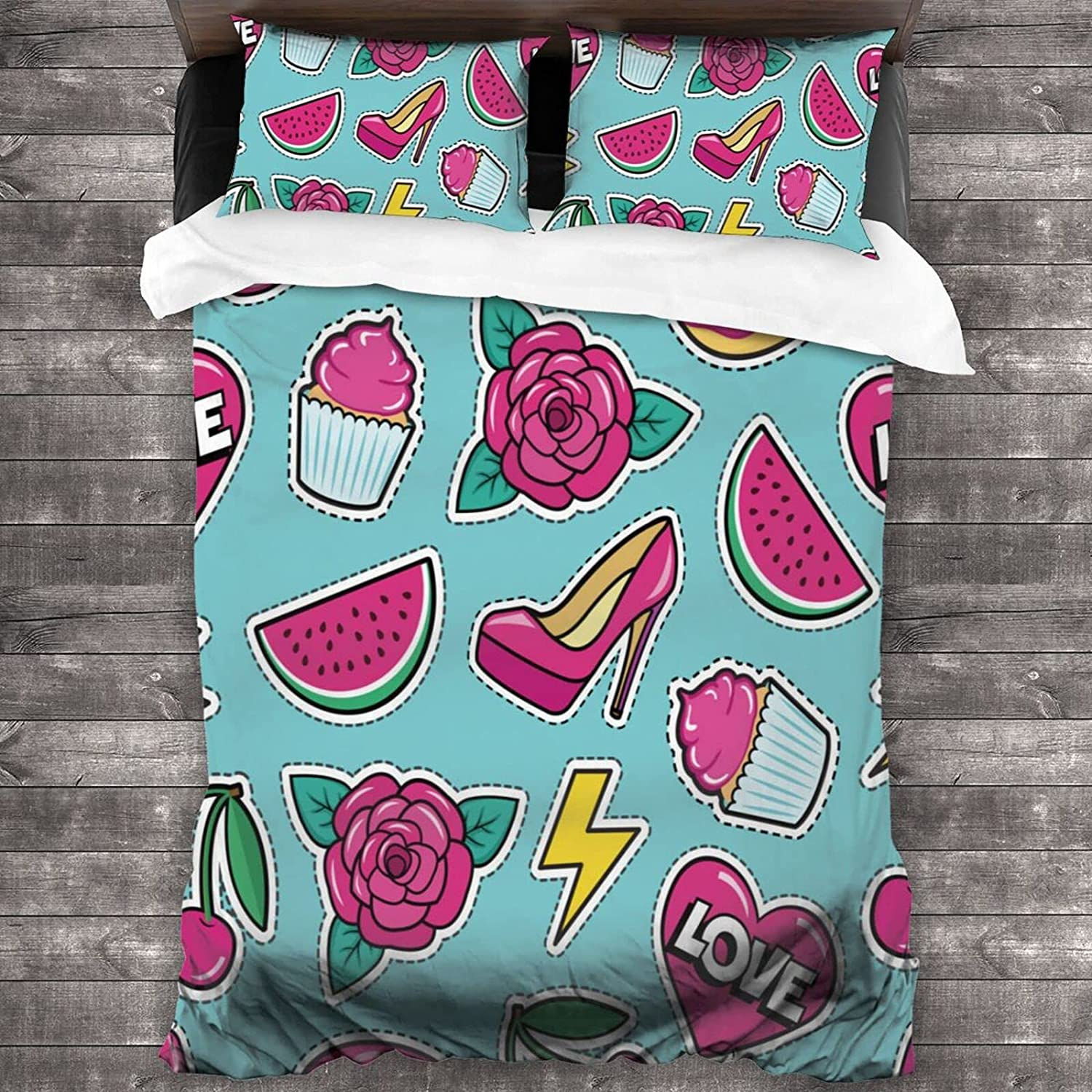 SUPNON Tucson Mall Don't miss the campaign 3 Piece Quilts Pillow Sets Col Cute Seamless with Pattern
