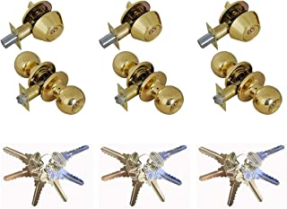 Grip Tight Tools ED02C-3, Set of 3 (Polished Brass) Combo Entry Lock Set Door Knob and Single Cylinder Deadbolt Alike: SC1 Keyway with 18 Keys Included