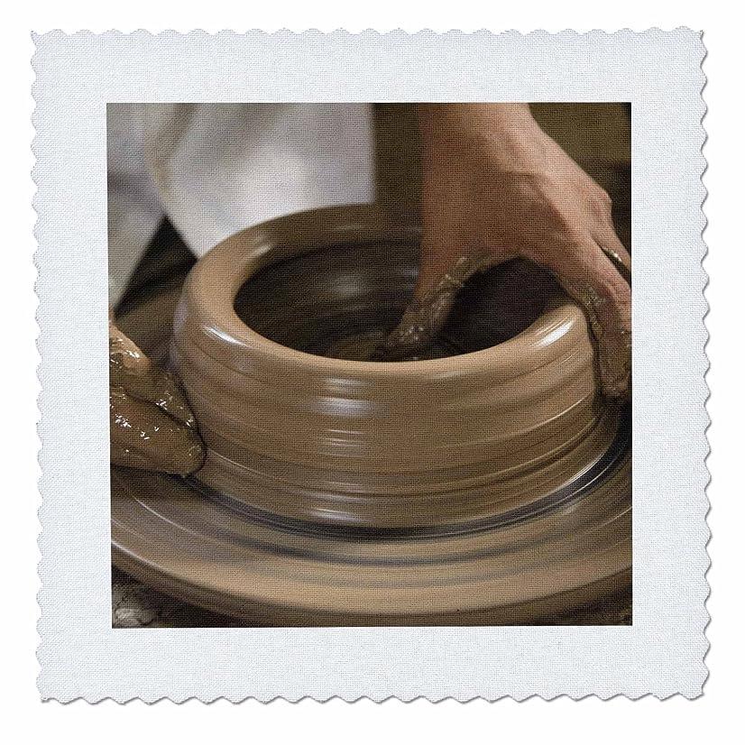 3dRose qs_86881_4 Nicaragua, Catarina. Pottery Wheel & Clay Sa14 Jme0128 John & Lisa Merrill Quilt Square, Square 12 by 12