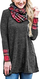 Women's Cowl Neck Dresses Long Sleeve Plaid Patch Casual Sweater Mini Tunic Dress