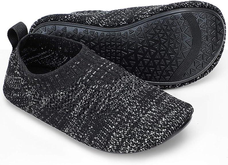 STQ Toddler Boys Socks Slippers Baby Walking House Shoes for Indoor Black Grey 4/5 M US Toddler