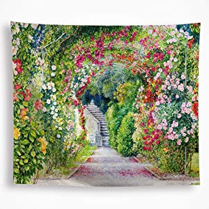 Spring Garden Tapestry Wall Hanging Colorful Flowers Mystic Floral Path Wall Art Nature Plants Wall Blanket Decor for Dorm Bedroom Picnic Livingroom Wedding 51