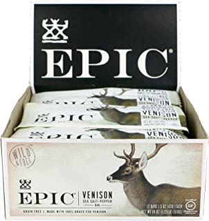 EPIC Venison with Sea Salt & Pepper, Low-Carb & Grass-Fed Protein Bars, 1.5 Oz, Pack of 12