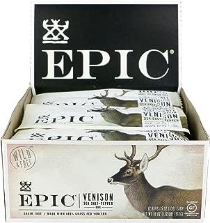 Epic Venison Sea Salt & Pepper Bars, Low-Carb, Grass-Fed, 12 Count Box 1.5 Oz Bars