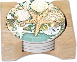 CounterArt Set of 4 Absorbent Coasters in Wooden Holder, Starfish and Sea Shells