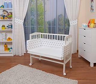 comprar comparacion WALDIN Cuna colecho para bebé, cuna para bebé, con protector y colchón, lacado en blanco,color textil blanco/estrellas gris