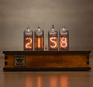 Nixie Tube Clock 4X IN-14 Nixie Tubes Vintage Retro Desk Clock Fully Assembled and Tested Wooden Olive Ash Case Firefly