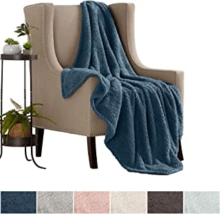 Great Bay Home Ultra Soft, Fuzzy Sherpa Stretch Knitted Throw Blanket. Lightweight and Cozy, Elegant, Chic Decorative Fleece Blanket. (Indian Teal)