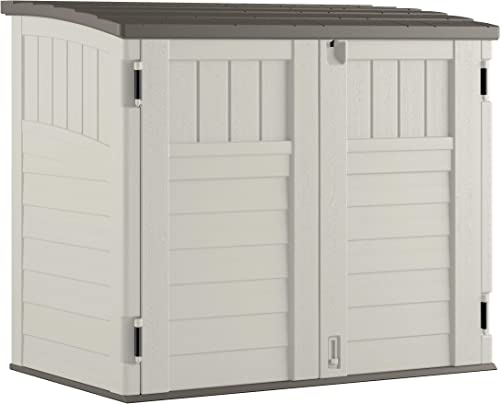 Suncast Horizontal Outdoor Storage Shed for Backyards and Patios 34 Cubic Feet Capacity for Garbage Cans, Tools and G...