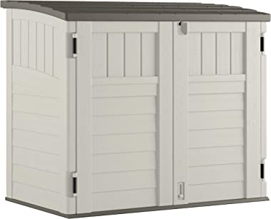 Suncast Horizontal Outdoor Storage Shed for Backyards and Patios 34 Cubic Feet Capacity for Garbage Cans, Tools and Garden Ac
