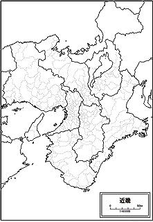 近畿地方の白地図 A1サイズ 2枚セット