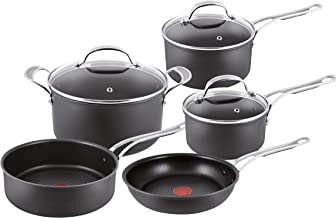 Tefal Jamie Oliver Premium Hard Anodised Induction 5 Piece Set H902A544 with Ultra Resistant Titanium Coating