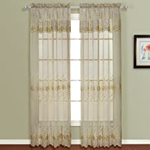 United Curtain Marianna Embroidered Sheer Window Curtain Panel, 50 by 63-Inch, Mocha