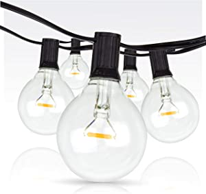 Newhouse Lighting 25-Foot, 25 Socket Indoor/Outdoor String Lights with 27 Very Big LED Globe G50 Bulbs (2 Free Large Bulbs Included), Great Wedding Lights, Decorations for Patios, Backyards