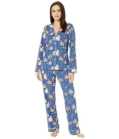 BedHead Pajamas Long Sleeve Classic Notch Collar Pajama Set (Gingerbread Village) Women