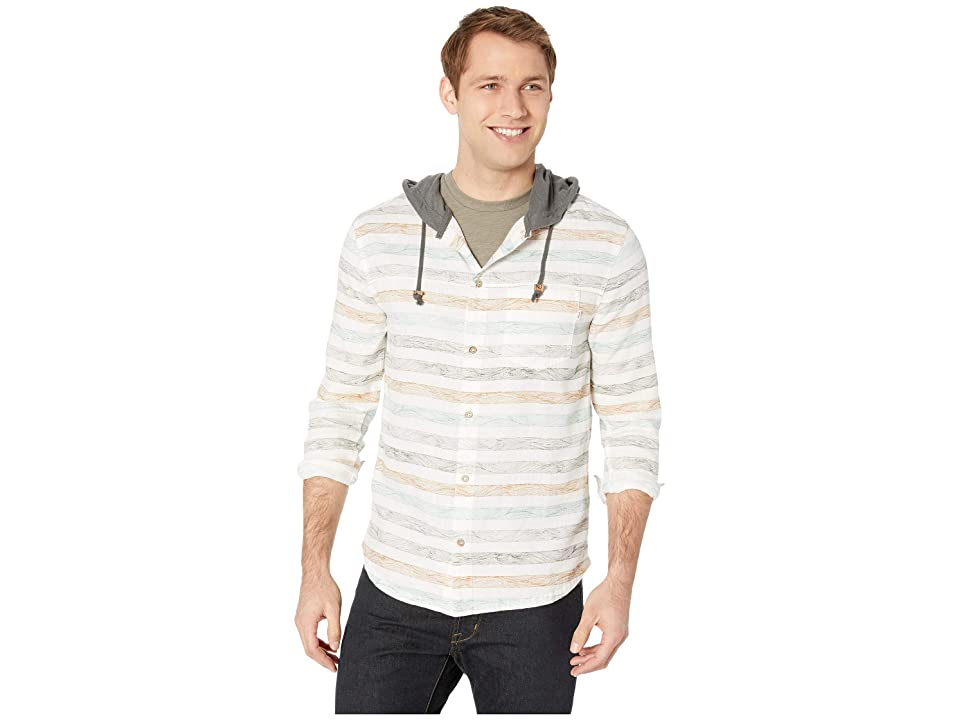 tentree Mancos Long Sleeve Button Up Hoodie (Heathered White) Men