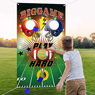 Football Toss Game with 3 Bean Bags, Indoor and Outdoor Bean Bag Toss Game for Children and Adults, Football Theme Party Decorations Supplies