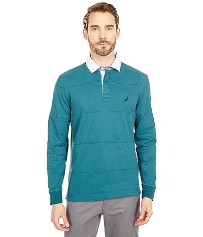 Nautica Stripe Stitched Long Sleeve Polo (Deep Atlantic) Men