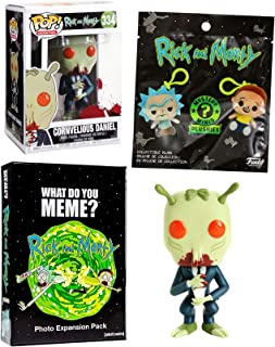 R&M Plushies Get Shwifty Blind Bag Mystery Minis Bundled with Cornvelious Daniel Pop! Vinyl Character & Meme Card Game Intergalactic Fun Rick & Morty Pack 3 Items