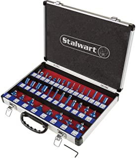 "Router Bit Set- 35 Piece Kit with ¼"" Shank and Aluminum Storage Case by Stalwart (Woodworking Tools for Home Improvement a..."