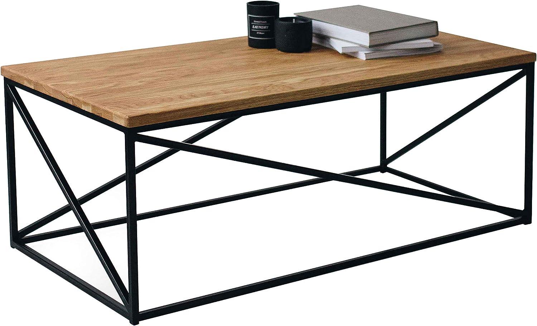 Das Original-BestLoft Couchtisch Orlando (110-SH) Eiche & Metall Beistelltisch Industiedesign loft 110x55x43 Vintage Sofatisch massiv Holz (Eiche Natur + Gestell in schwarz)