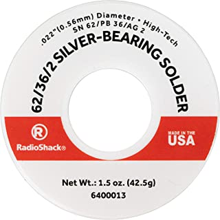RadioShack SnPbAg 62/36/2 Silver-Bearing Rosin-Core Solder, 0.022