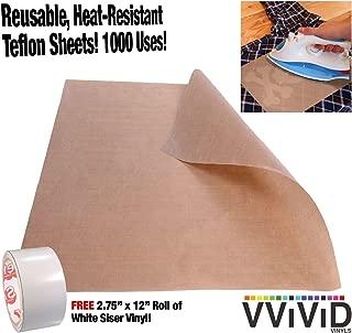 VViViD Teflon Coated Non-Stick Fibreglass Heat Transfer Craft and Hobby Sheets Including 2.75