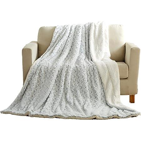 Sherpa Throw Plush Gray Medallion 50x60 Afghan Blanket Faux Fur