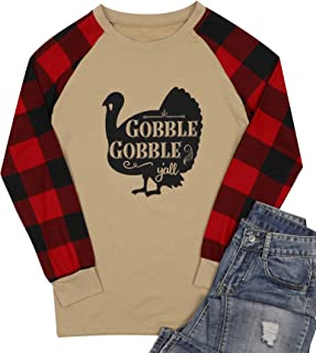 Gobble Gobble Y'all Thanksgiving Turkey T-Shirts Women Plaid Long Sleeve Splicing Tops Blouse