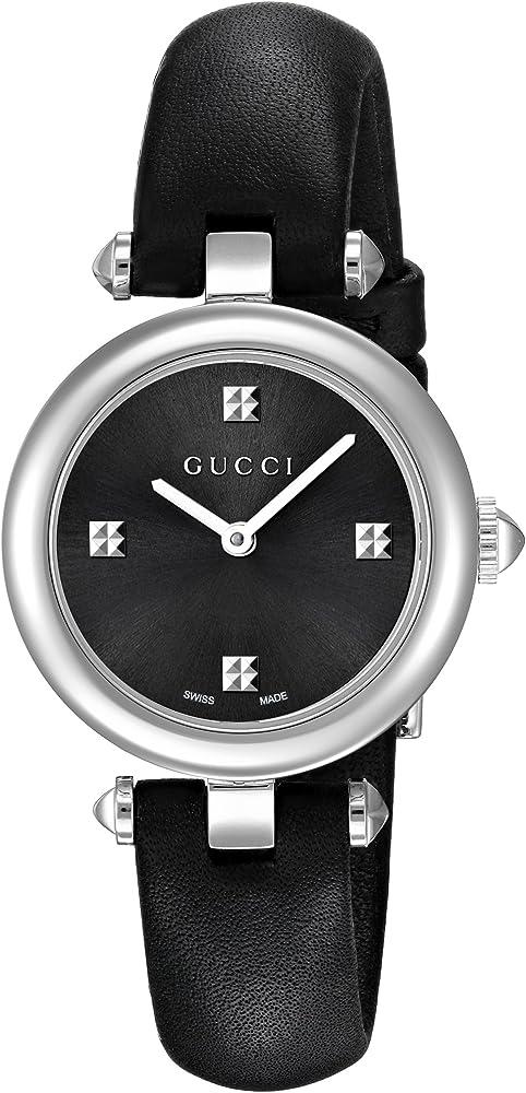 Gucci, orologio da donna, in acciaio inossidabile e cinturino in pelle YA141506