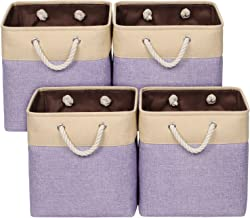 Univivi 4-Pack Fabric Storage Bin with Handles, Foldable Fabric Storage Basket for Organizing,Storage Baskets for Bedroom,...