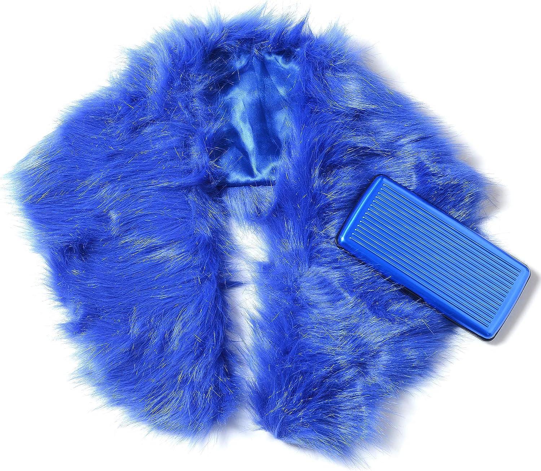 bluee Faux Fur Lightweight Scarf Wrap Hijabs For Women 33.86x5.5