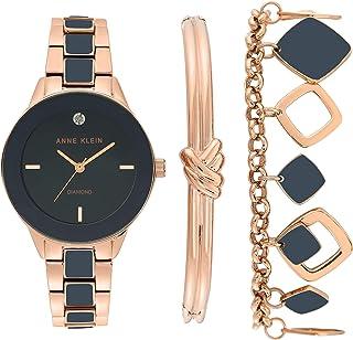 Women's Genuine Diamond Dial Watch and Bracelet Set, AK/3348