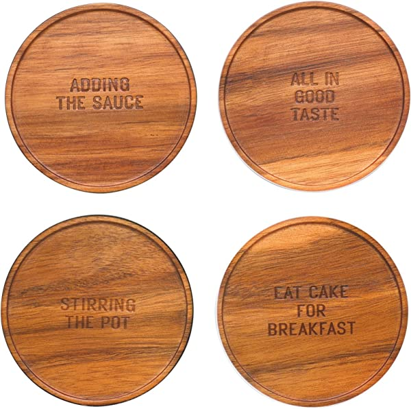KSNY All In Good Taste Wood Coasters Brown Set Of 4