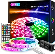 LED Strip Light 65.6ft/20M, Xkey Led Lights Color Changing RGB SMD 5050 LED Strip Light Kit with 44 Keys IR Remote Control...