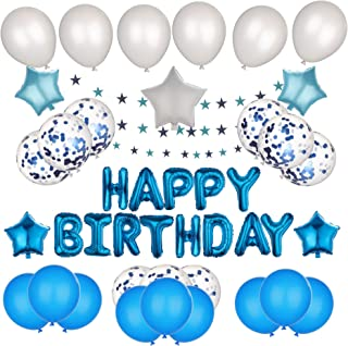 Blue Theme Birthday Decoration | Happy Birthday | Party Supplies for Baby Shower Birthday Party for kids | Banner + Balloo...