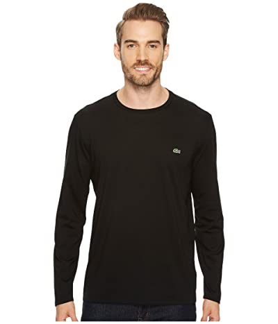 Lacoste Long Sleeve Pima Jersey Crew Neck T-Shirt (Black) Men
