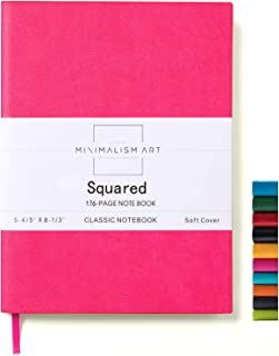 Minimalism Art, Soft Cover Notebook Journal, A5 Size 5.8 X 8.3 inches, Berry, Squared Grid Page, 176 Pages, Fine PU Leather, Premium Thick Paper-100gsm, Ribbon Bookmark, Designed in San Francisco